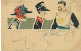 CARABINIERI,GRANATIERI,CORAZZIERI,ARMY AND ITALIAN ARMY,ESERCITO E ARMATA ITALIANA ITALY HUMOUR POSTCARD 1900 CIRCULATED - Humour