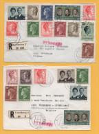 Luxemburg / 2 Einschreiben Von Luxemburg Nach Belgien (Brüssel) Von 1970 + 1971 - Mischfrankatur - Brieven En Documenten