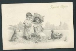 Joyeuses Pâques. Très Jolis Enfants Dans Un Pré. Lapins,poules,poussins. Série A 150 - Pâques