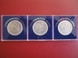 Isle Of Man Manx 1982 XII World Cup Spain Football  3x Crown Set UNC Cased - Regional Coins