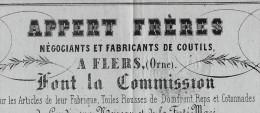 ROULAGE TRANSPORT  LETTRE DE VOITURE APPERT FRERES FLERS  CONDE SUR NOIREAU FERTE MACE Orne 1863 B.E.V.SCANS - 1800 – 1899