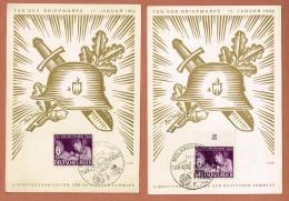 Mülhausen (ELS) Tag Der Briefmarke 11.1.1942 Les Deux Cartes Avec Un Cachet Guebweiler Au Recto - Elsass-Lothringen