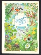 New Year Bird Butterfly Hedgehog Dandelion Aster  Apple On Russia USSR Mint Postcard From 1987 Carte Postale - 1923-1991 USSR