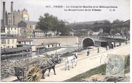 PARIS - Le Canal St Martin Et Le Métropolitain Au Rond-point De La Villette - Arrondissement: 19