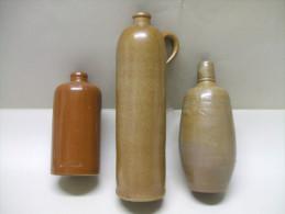 3 Anciennes BOUTEILLES En GRES Alcool Gnôle Vin AMSTERDAM, M.K.M. - Autres Collections