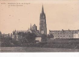 Cp , 29 , LE FOLGOËT , Basilique N.-D. Du Folgoët Et Cours Normal - Le Folgoët