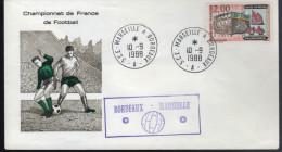 """Lettre Championnat De France De Football Cachet Ambulant """" Marseille à Bordeaux 10-9-88 Zéro/zéro - Cartas"""