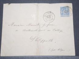 ALGERIE - Env Avec Entier Type Sage 15 C De Blidah Pour Philippeville Par Alger- Fev 1890 - P16860 - Algérie (1924-1962)
