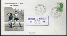 """Lettre Championnat De France De Football Cachet Ambulant """" Bordeaux à Marseille 1-8 1987 Deux à Zéro - Cartas"""
