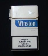 KOSOVO (SERBIA) WINSTON BLUE EMPTY HARD PACK, USA CIGARETTES KOSOVO EDITION WITH FISCAL REVENUE STAMP. - Empty Tobacco Boxes
