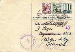 SCHWEIZ 1950 - 10 C Ganzsache + 5 + 10 C Auf Pk, Ö-Zensurstempel