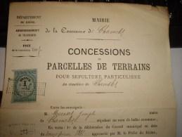 CHAMELET Fiscal Revenue -  DIMENSION 1 FRANC  Document Entier-signature Du Maire - Revenue Stamps