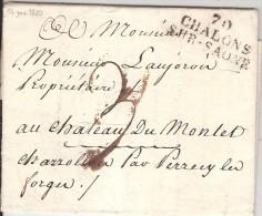 CHALON SUR SAONE_marque Tampon 70 / CHALONS / SUR-SAONE_1820_L18 - Marcophilie (Lettres)