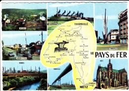 CPSM GEOGRAPHIQUE LE PAYS DU FER ENTRE THIONVILLE ET METZ MOSELLE DOUANE USINES - Maps