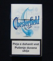 KOSOVO (SERBIA) CHESTERFIELD BLUE EMPTY HARD PACK, USA CIGARETTES KOSOVO EDITION WITH FISCAL REVENUE STAMP. - Empty Tobacco Boxes