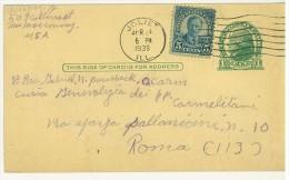 STORIA POSTALE - AMERICA - UNITED STATES POSTAGE - ANNO 1939 - JOLIET - PER ROMA - - America Centrale