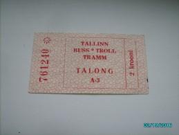 USSR RUSSIA ESTONIA TALLINN BUS TRAM TROLLEY TICKET , O - Tickets - Entradas