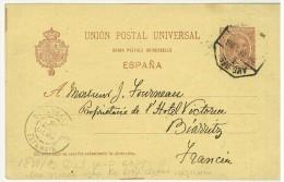 STORIA POSTALE - SPAGNA - ESPANA - ANNO 1896 - UNION POSTAL UNIVERSAL - PER BIARRITZ - FRANCIA - AL SIGNOR FOURNEAU - - Marcofilia - EMA ( Maquina De Huellas A Franquear)