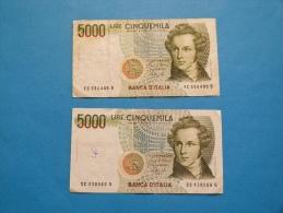 5000 LIRE   LOT DE 2 BILLETS - [ 2] 1946-… : République