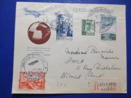 Lettre DU MAROC Recommandé Journée Du Timbre 1950 Casablanca - Covers & Documents