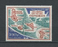Comores 1971  PA N° 36 ** Neuf  = MNH Superbe Cote: 9 € Carte De L'Archipel - Nuovi