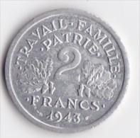 FRANCE 2 FRANCS ETAT FRANCAIS   ANNEE 1943     LOT FR142 - France