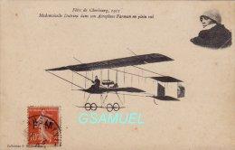 50 -  Fêtes De CHERBOURG 1911 - Mademoiselle Dutrieu Dans Son Aéroplane Farman En Plein Vol. - (voir Scan) - Cherbourg