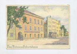 1938 Dt. Reich Farbige Propagandakarte Hitlers Geburtshaus Braunau Ungebraucht - Germany