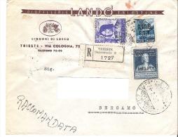 TRIESTE AMG FTT - RACCOMANDATA 1950 CON FRANCOBOLLO DA 20 LIRE + 15 LIRE + 50 LIRE - 7. Trieste