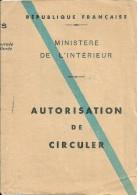 PERMIS DE CONDUIRE AUTORISATION CIRCULER MOTO ANDUZE  GARD - Transportation Tickets