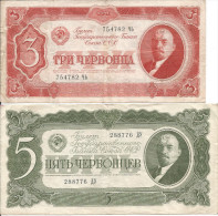 1937 - RUSSLAND, 3 Und 5 CERVONCEV, Gute Zustand, 2 Scan - Russia