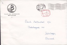 Belgium PALAIS DEU CENTENNAIRE, BRUXELLES 1948 Stampless Cover Lettre B566 Red Octagonal Cds. To Denmark - Franking Machines