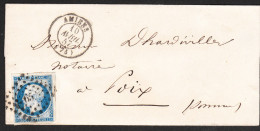 Lettre-Enveloppe AMIENS 10 Avril 1857 Via POIX (somme) Aff 65 - Postmark Collection (Covers)