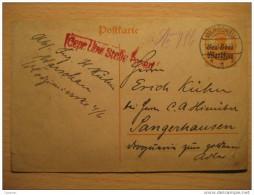 Warsaw Warszawa 1917 To Sangerhausen Germany German Oc WW1 War Militar Censor Censored O.p. Stationery Poland Polska - ....-1919 Übergangsregierung