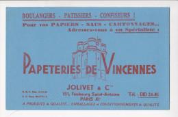 Buvard JOLIVET Et Cie Papeteries De VINCENNES Boulangers Patissiers Confiseurs Adressez Vous à Un Spécialiste - Papeterie