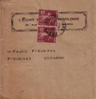 SEMEUSE - TARIF 30c - DESTINATION - FIGUERAS ESPAGNE - PAIRE DU 15c BRUN SUR BANDE DE JOURNAL DE AMIENS-GARE SOMME. - Postmark Collection (Covers)