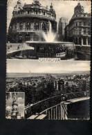 N2100 GENOVA, MULTIPLA CON PIAZZA DE FERRARI E PANORAMA - ANNULLO 1952 - Genova (Genoa)