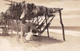Mexico Acapulco Beach Scene With Native Hammocks 1940 Real Photo