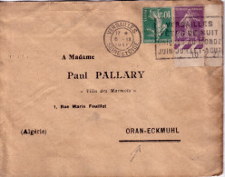 SEMEUSE - TARIF 50c - DESTINATION - ORAN-ECKMUHL ALGERIE - DE VERSAILLES LE 6-9-1-1928. - Postmark Collection (Covers)