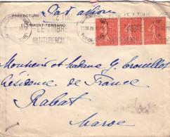SEMEUSE - TARIF 1F50c - DESTINATION - RABAT MAROC - BANDE DE 3 DU 50c LIGNE - LETTRE AVION DE CLERMONT LE 22-12-1929 - Postmark Collection (Covers)