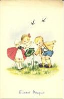 BUONA PASQUA  Bambini Trovano E Raccolgono Quadrifoglio  Rondini  Firmata - Pasqua