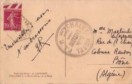 SEMEUSE - TARIF 20c - DESTINATION - BONE ALGERIE - DU COL DEU LAUTARET EN 1935 - CARTE POSTALE DU CHALET HOTEL.. - Postmark Collection (Covers)