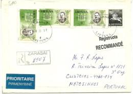 Cover FDC - 1993 - Zarasai-Vilnius C(Lithuania)-Matosinhos(Portugal) Registered - Prioritaire - Litauen