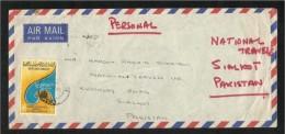 United Arab Emirates UAE 1977 Air Mail Postal Used Cover U A E To Pakistan Falcon Eagle Birds - Abu Dhabi