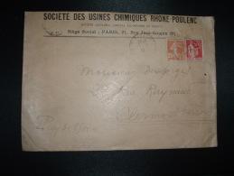 LETTRE TP PAIX 50c + SEMEUSE 25c OBL.17-2-37 PARIS VIII + SOCIETE DES USINES CHIMIQUES RHONE-POULENC - Postmark Collection (Covers)