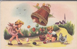 PÂQUES---(enfants Cloche Oeufs Poussins)------voir 2 Scans - Easter