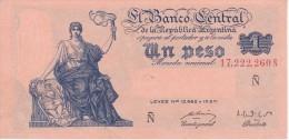 BILLETE DE ARGENTINA DE 1 PESO LEYES Nº12962 Y 13571 SERIE Ñ CALIDAD EBC (XF) (BANKNOTE) - Argentina