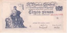BILLETE DE ARGENTINA DE 5 PESOS LEYES Nº 12962 Y 13571 SERIE G  (BANKNOTE) DIFERENTES FIRMAS - Argentina