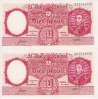 P-265 PAREJA CORRELATIVA DE 10 PESOS LEY Nº 12155 DEL AÑO 1954 EN EBC (XF) (BANKNOTE) DIFERENTES FIRMAS - Argentina