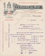 Lettre 1914 LA RUCHE DU MIDI BEZIERS Hérault - Achat De Vin De Bordeaux, Capsules Et étiquettes - France